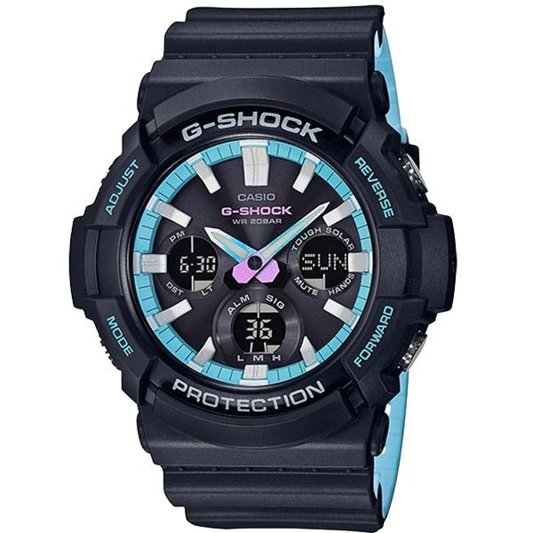 CASIO G-SHOCK系列 異域進化論時尚運動錶-黑X水藍-GAS-100PC-1ADR