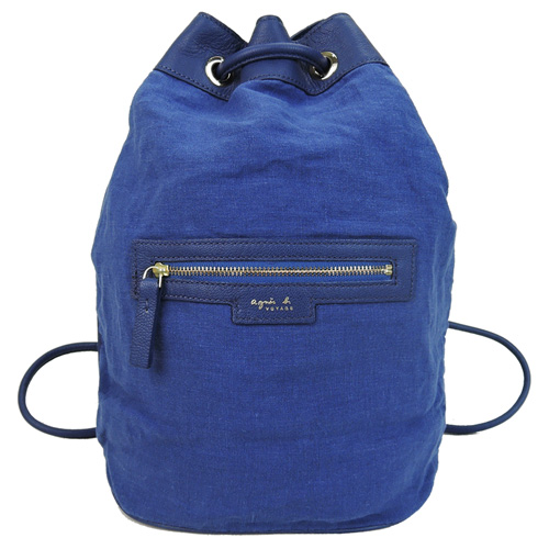 agnes b.皮標前口袋麻質束口後背包(藍)