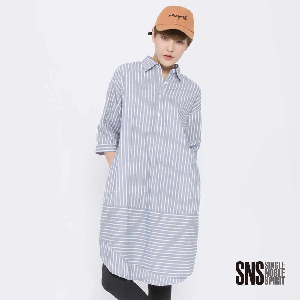 SNS 星塵旅人拼接條紋襯衫洋裝(2色)