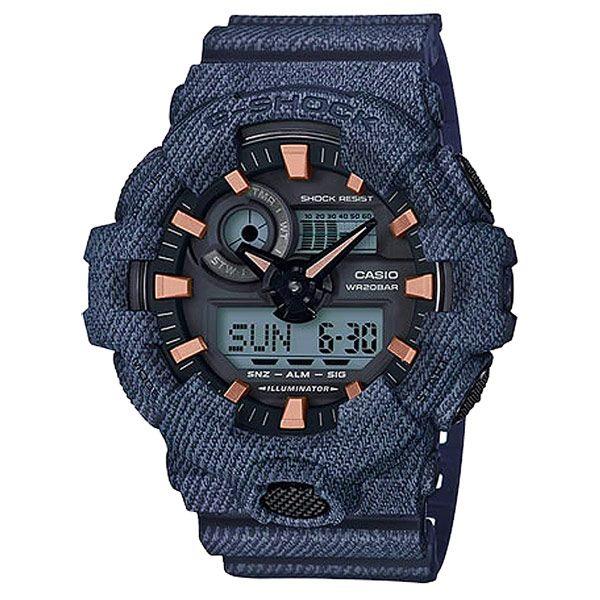 CASIO G-SHOCK 絕對強悍時尚運動錶-深藍丹寧-GA-700DE-2ADR