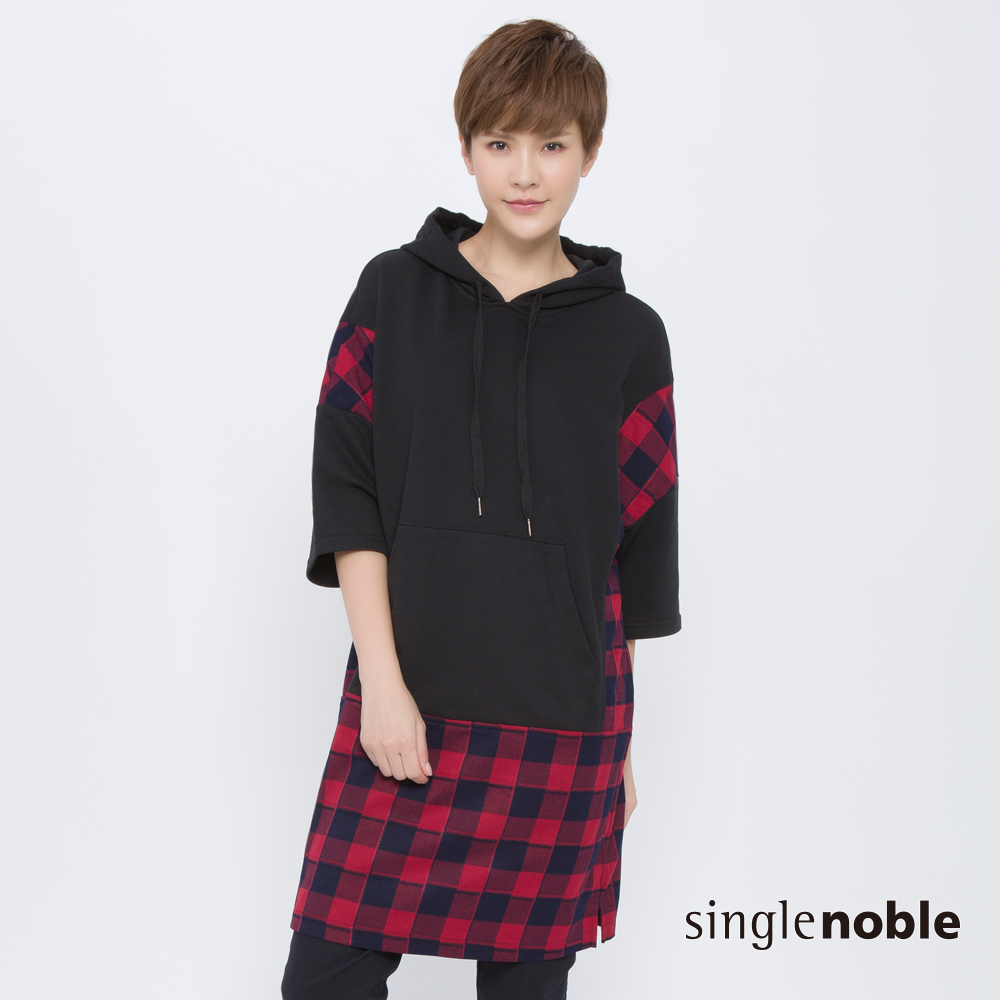 SNS 時尚方程式拼接格紋連帽洋裝(2色)