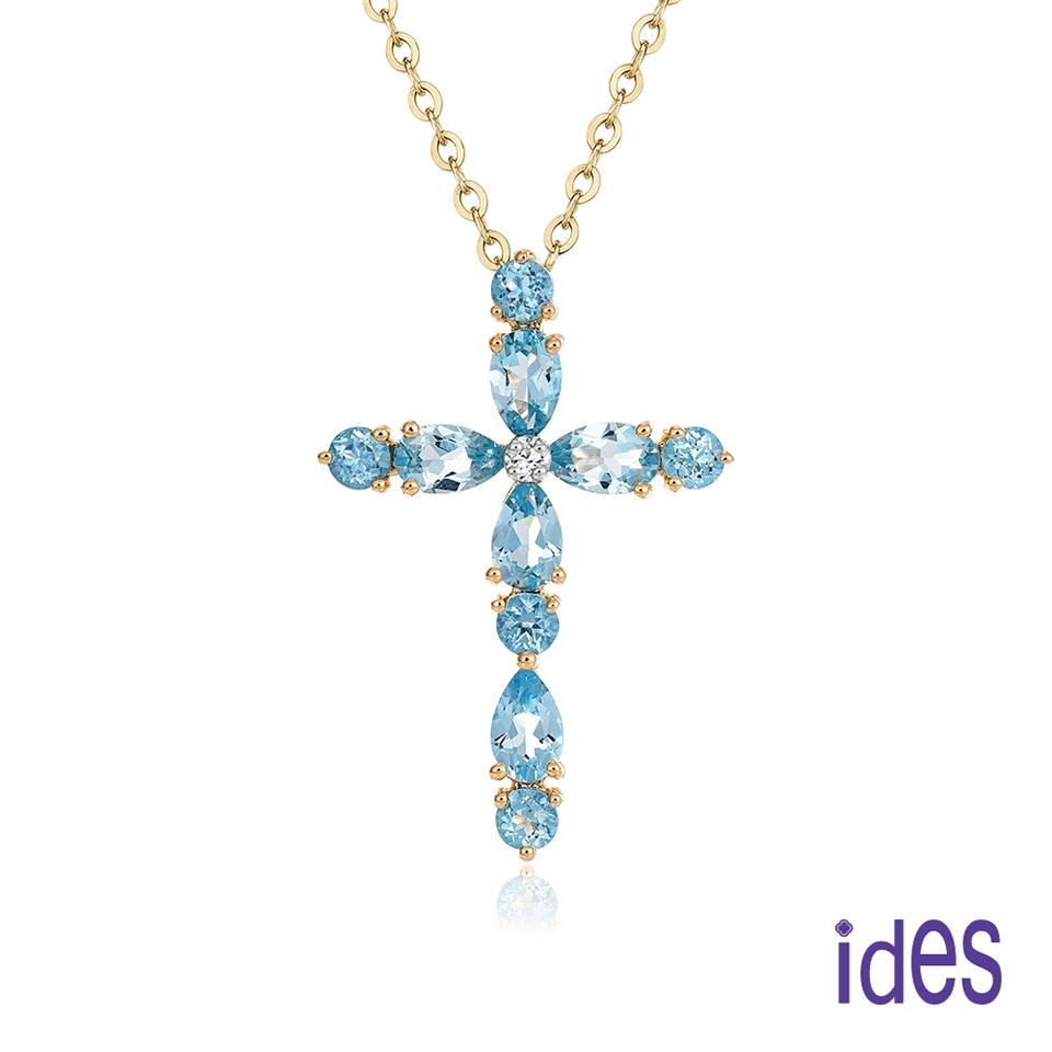 ides愛蒂思 歐美設計彩寶系列拓帕石十字架項鍊/黃K金色