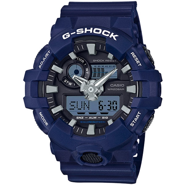 CASIO G-SHOCK 絕對強悍時尚運動錶-藍-GA-700-2ADR