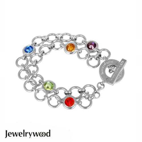 Jewelrywood 繽紛復古銀雙圈手鍊