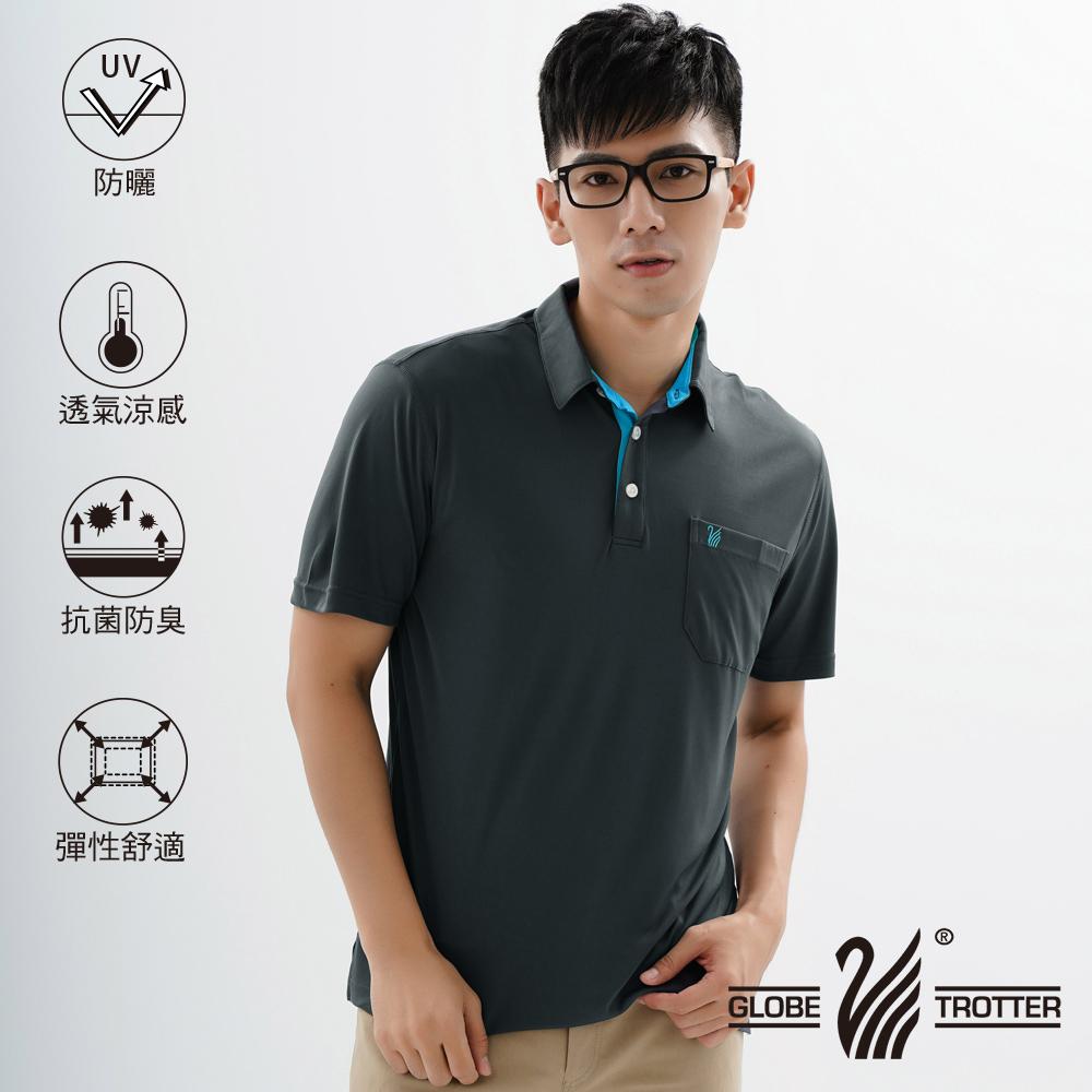 【遊遍天下】MIT男款休閒抗UV速乾機能POLO衫GS10026黑色