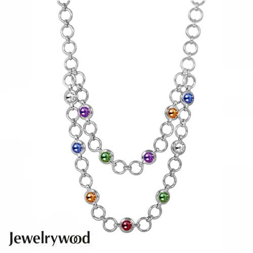 Jewelrywood 繽紛復古銀雙圈項鍊