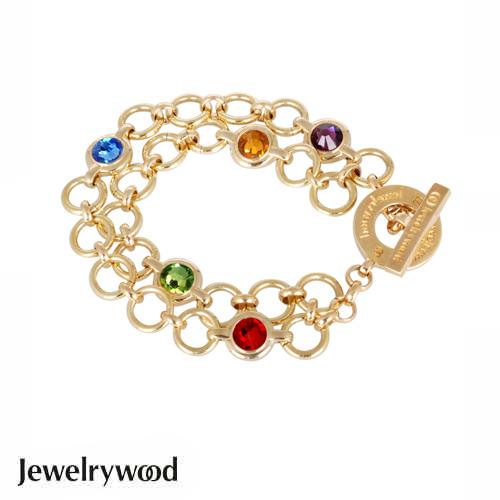 Jewelrywood 繽紛復古金雙圈手鍊