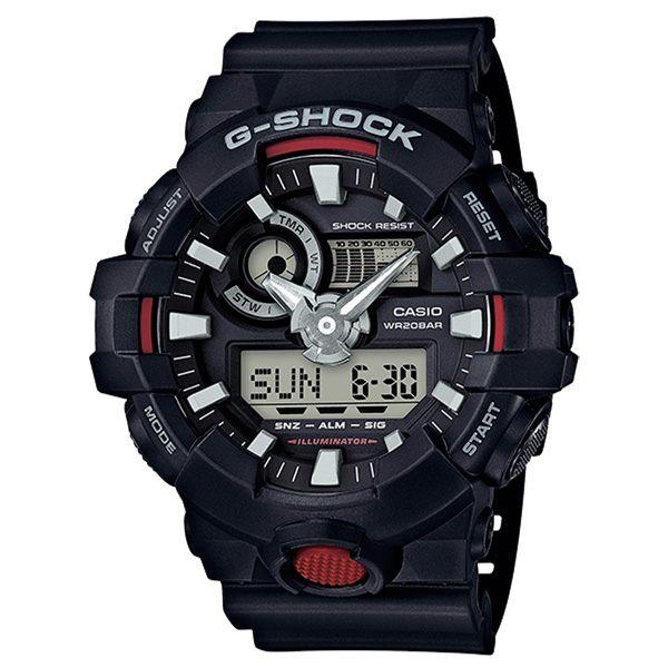 CASIO G-SHOCK 絕對強悍時尚運動錶-黑X紅-GA-700-1ADR