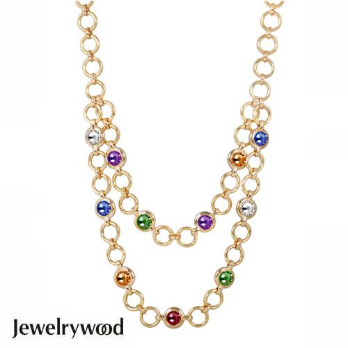 Jewelrywood 繽紛復古金雙圈項鍊