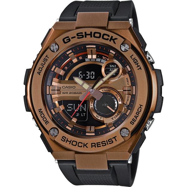 CASIO G-SHOCK系列 破繭重生雙顯運動錶-棕色-GST-210B-4ADR