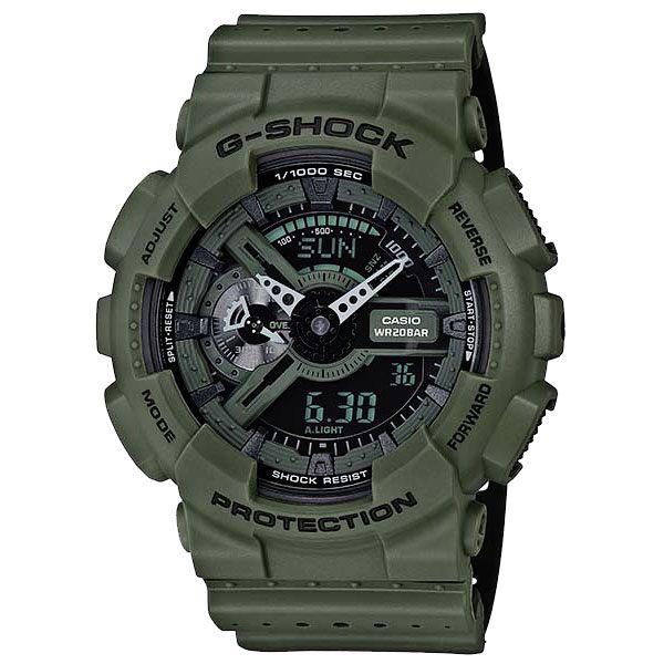 CASIO G-SHOCK系列 狂潮萊姆三眼時尚運動錶-墨綠-GA-110LP-3ADR