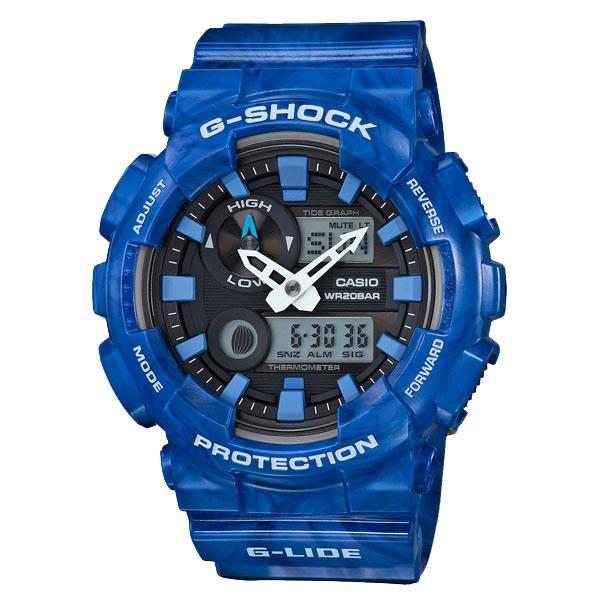 CASIO G-SHOCK系列 眼鏡蛇崛起時尚運動錶-藍-GAX-100MA-2ADR