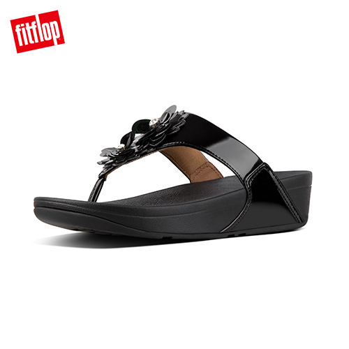 FitFlop - (女款)LULU FLOWER PATENT TOE-THONGS-黑色