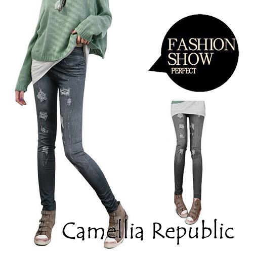 【C.R.】現貨-超顯瘦仿牛仔內搭褲(藍、黑)大磨口款