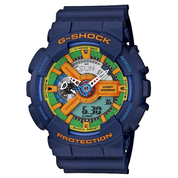 CASIO G-SHOCK 超重型戰機雙顯運動錶-藍-GA-110FC-2ADR