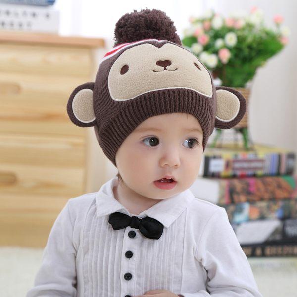 【PS Mall】咖啡猴子造型寶寶套頭帽 保暖冬天動物帽子 兒童萬聖節裝扮 (J397)