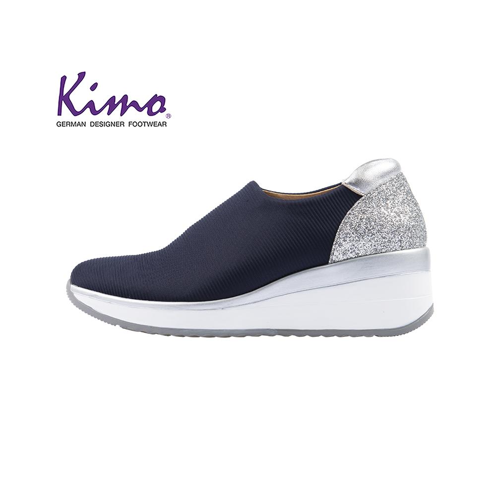 【Kimo 德國品牌健康鞋】《下殺.破天荒》華麗鑽感彈性萊卡舒適墊高休閒鞋(英倫藍K18WF148016)
