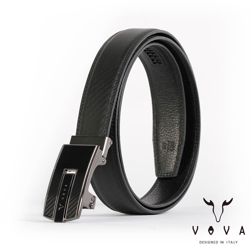 VOVA 商務紳士琴鍵鏡面造型自動扣皮帶(鎢鋼色)VA004-003-GU