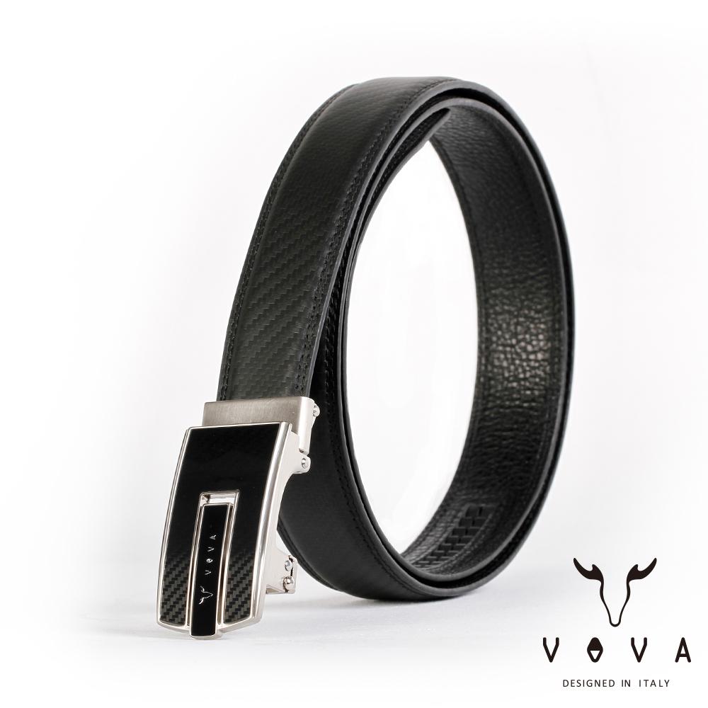VOVA 商務紳士琴鍵鏡面造型自動扣皮帶(亮銀色)VA004-003-NK