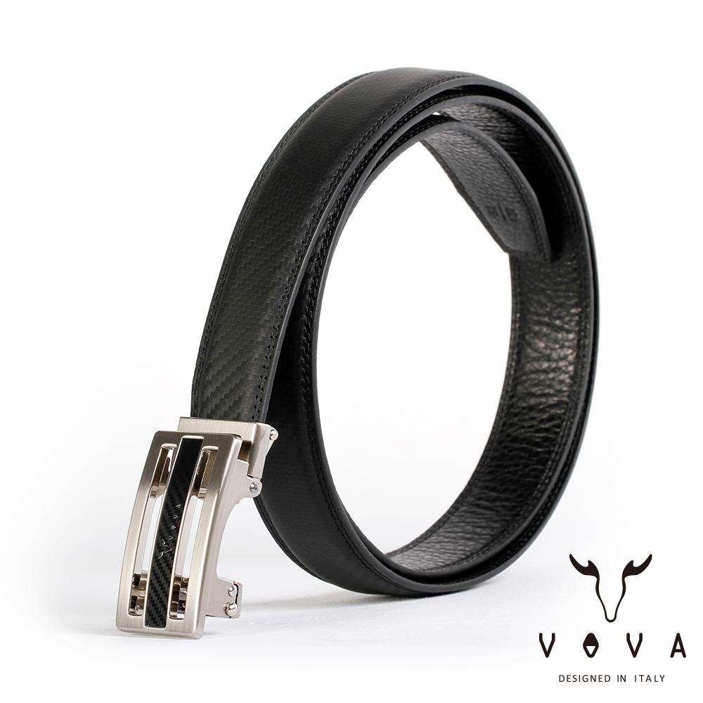 VOVA 商務紳士時尚造型自動扣皮帶(亮銀色)VA004-004-NK