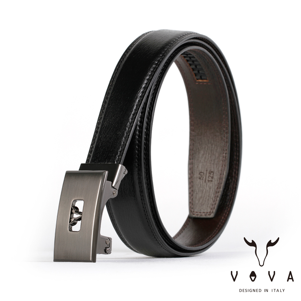 VOVA 商務紳士鏤空造型自動扣皮帶(鎢鋼色)VA004-005-GU