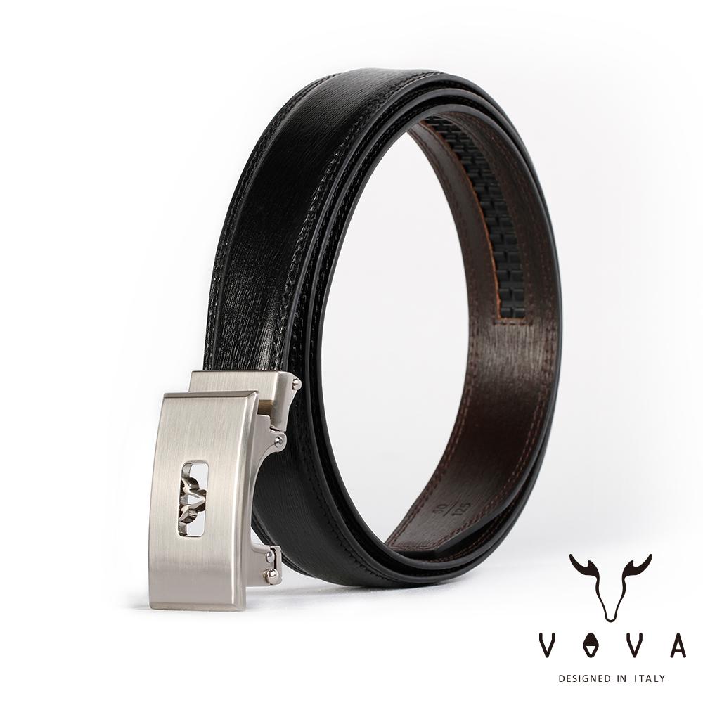 VOVA 商務紳士鏤空造型自動扣皮帶(亮銀色)VA004-005-NK