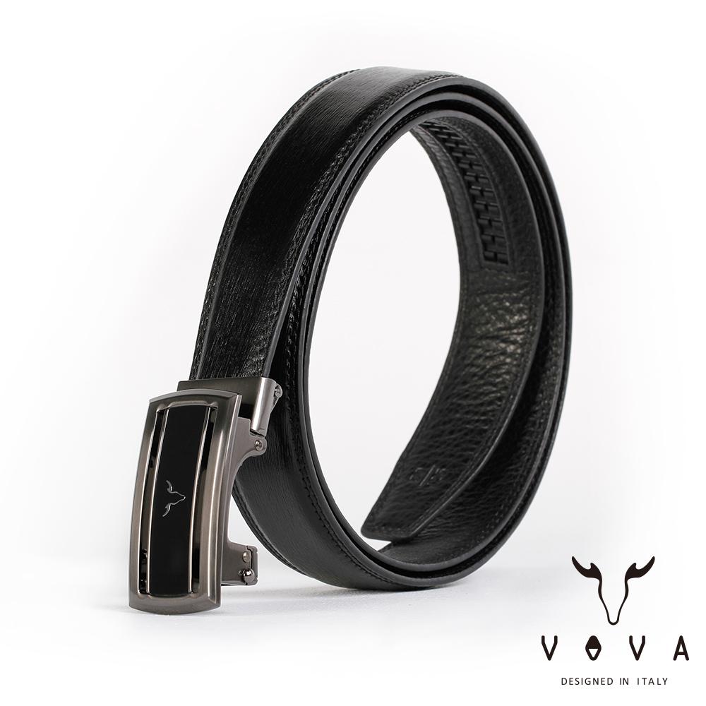 VOVA 商務紳士簡約造型自動扣皮帶(鎢鋼色)VA004-006-GU