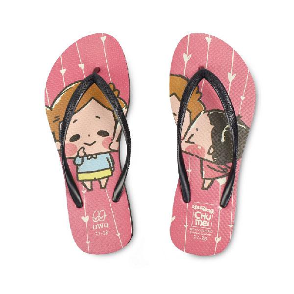【QWQ】創意設計夾腳拖鞋- 啾啾妹 KISS女款 黑色(女款)