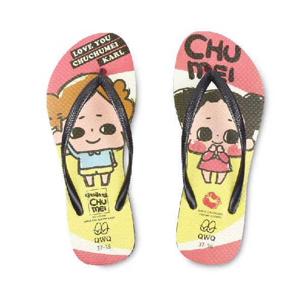 【QWQ】創意設計夾腳拖鞋- 啾啾妹 LOVE女款 細帶人字拖鞋 黑色