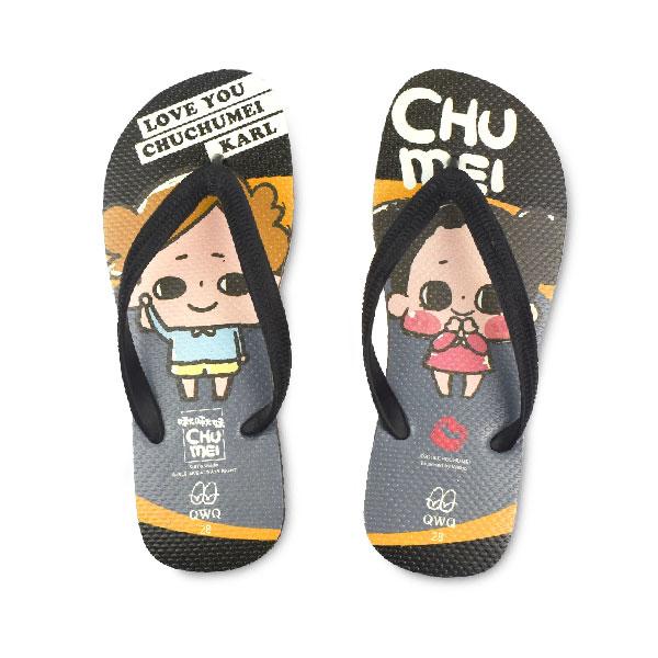 【QWQ】創意設計夾腳拖鞋- 啾啾妹 LOVE男款 粗帶人字拖鞋 黑色