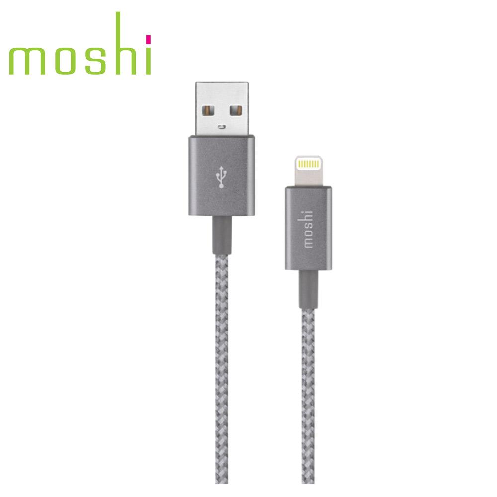Moshi Integra™強韌系列Lightning to USB-A 耐用編織充電/傳輸線 鈦灰(1.2 m)