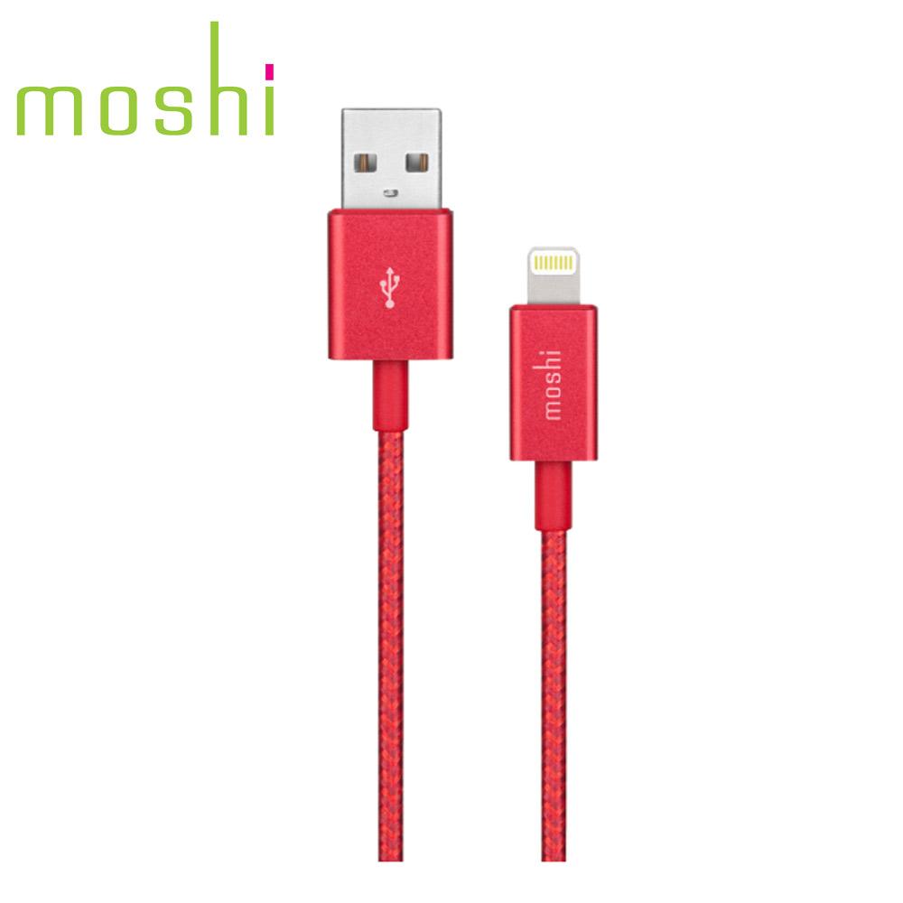 Moshi Integra™強韌系列Lightning to USB-A 耐用編織充電/傳輸線 焰紅(1.2 m)
