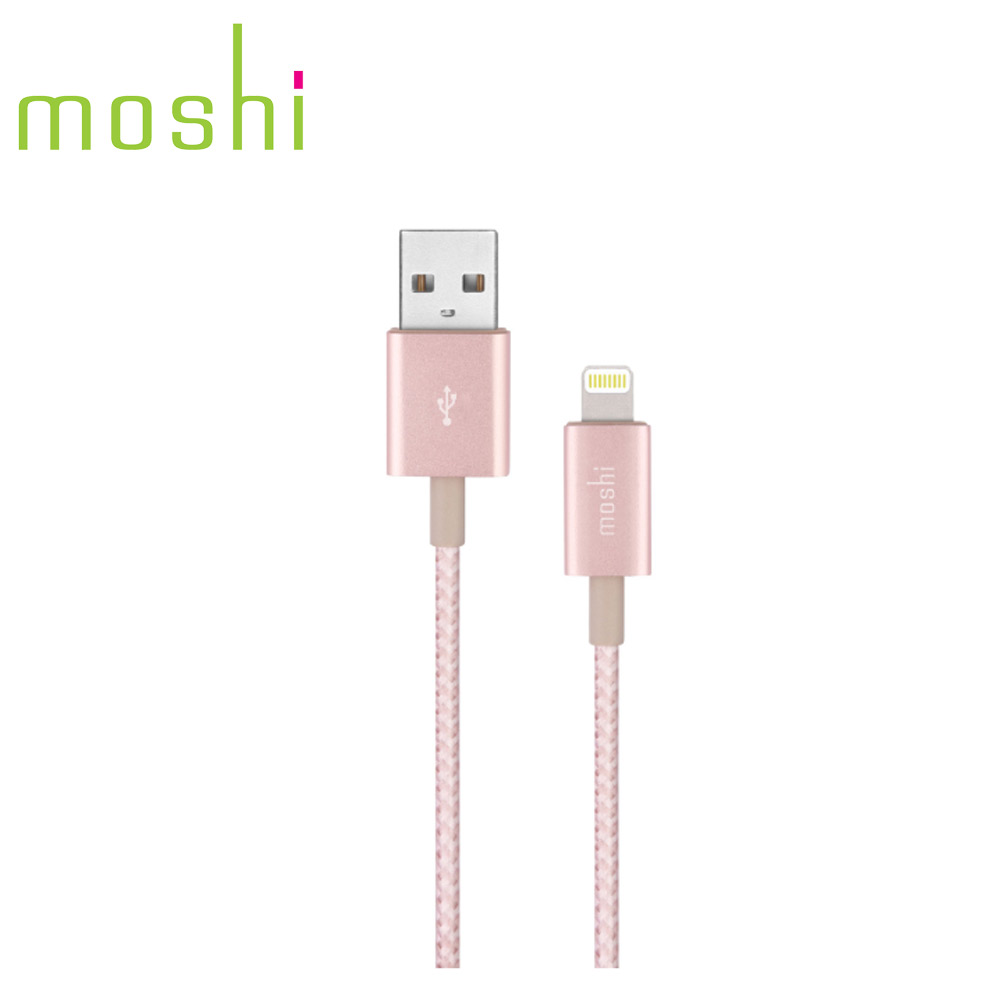 Moshi Integra™強韌系列Lightning to USB-A 耐用編織充電/傳輸線 玫瑰粉金(1.2 m)