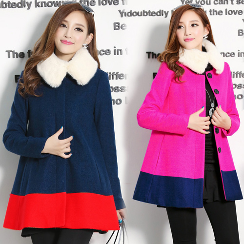【韓國KW】L-XL 秋冬簡約毛領雙色拼接大衣毛呢外套