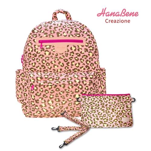 【Babytiger虎兒寶】Hana Bene 花花班尼 極輕感 大後背 13格層防潑水空氣包-2件組-粉色豹紋