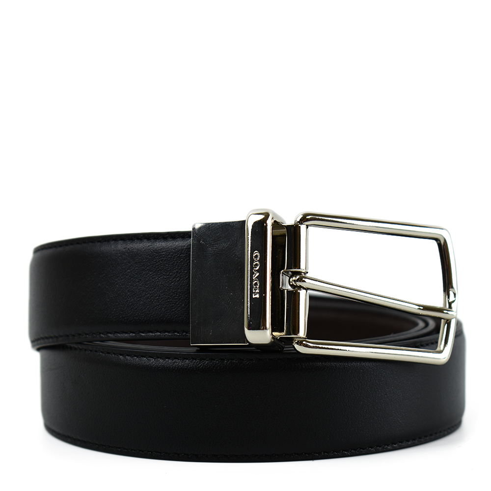 COACH 男款 滑面皮革穿式扣頭雙面用窄版皮帶-黑色/咖啡色