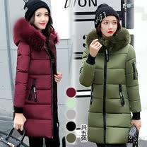 【韓國KW】L-3XL 秋冬韓系時尚毛領造型百搭羽絨棉外套