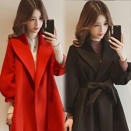 【韓國KW】<BR>XL-4XL 秋冬甜美顯瘦毛呢外套