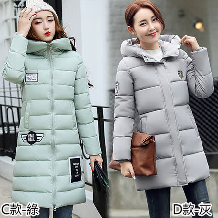 【韓國KW】XL-3XL 秋冬簡約俐落笑臉貼布長版羽絨外套
