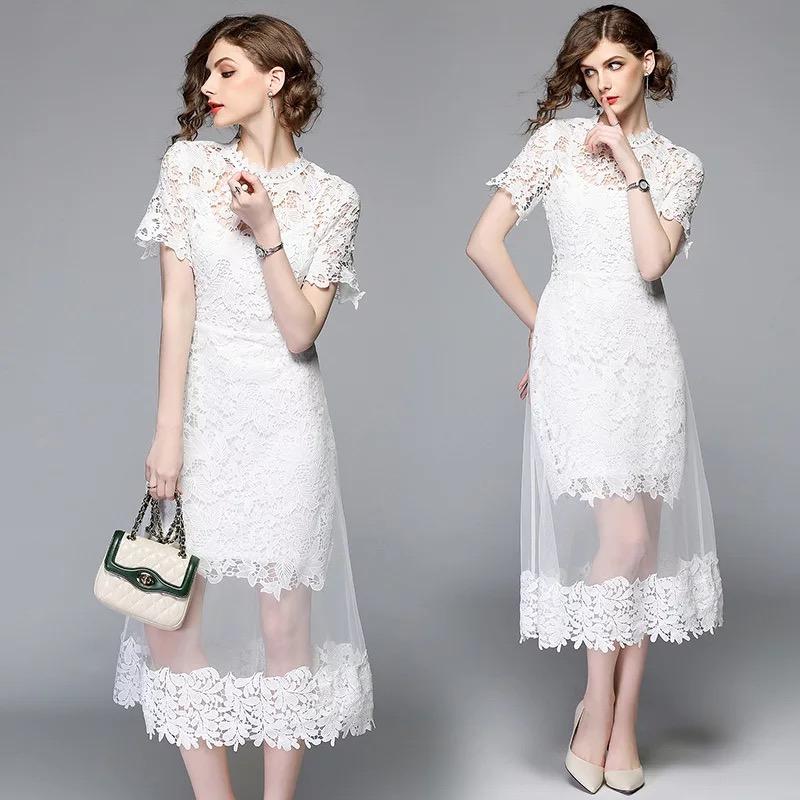 Olivia奧莉精品  希臘女神浪漫蕾絲透視洋裝 S~2XL 蕾絲 網紗 洋裝 連身裙 禮服 伴娘服 媽媽裝