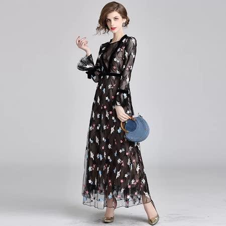 Olivia奧莉精品 荷葉邊網紗修身長洋裝