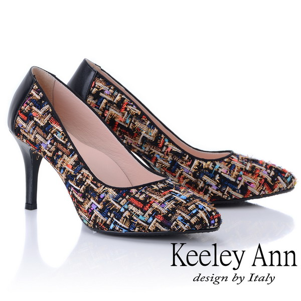 Keeley Ann年代風華~繽紛布拼接風真皮軟墊高跟鞋(黑色875157110-Ann系列)