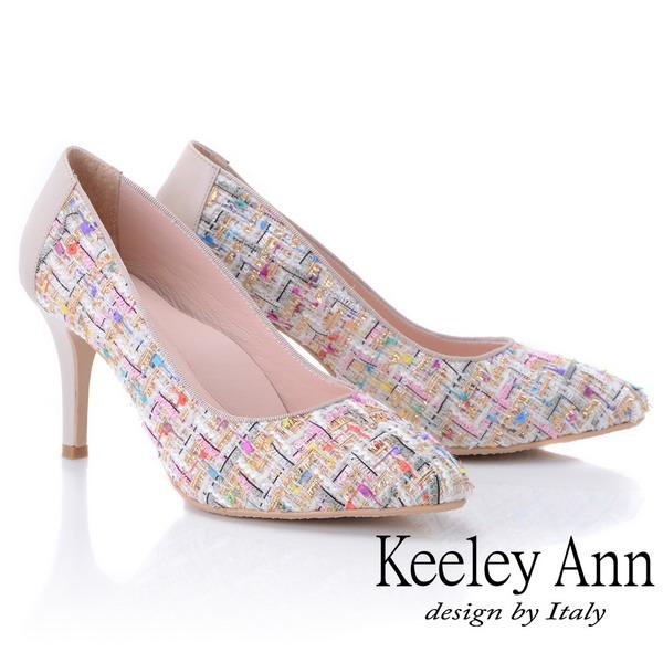 Keeley Ann年代風華~繽紛布拼接風真皮軟墊高跟鞋(米色875157130-Ann系列)