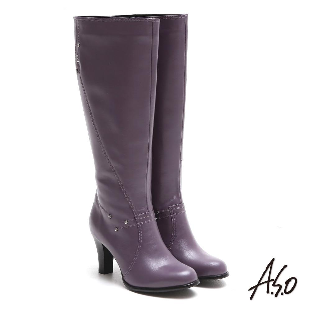 A.S.O 都會時尚 閃鑽微笑曲線靜音奈米長靴 (紫色)