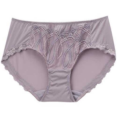摩奇X-美麗挺魔力系列 M-LL 中腰三角內褲(粉藕紫)修飾包臀-透氣蕾絲