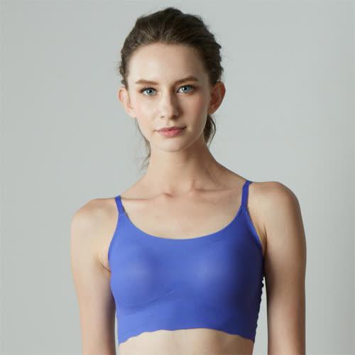 華歌爾-gococi M-LL 無鋼圈內衣(藍)套穿式無痕親膚-花生襯墊塑造美胸