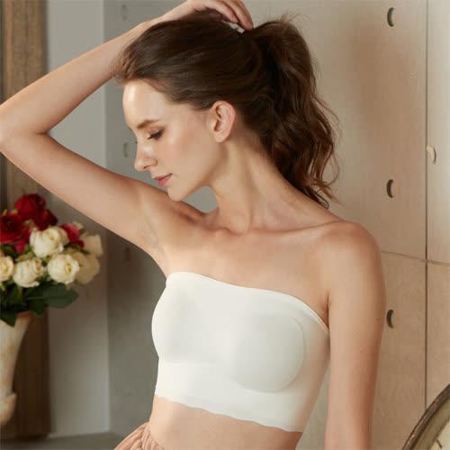 華歌爾-gococi S-L 平口內衣(白)無鋼圈-套穿式無痕親膚-花生襯墊塑造美胸