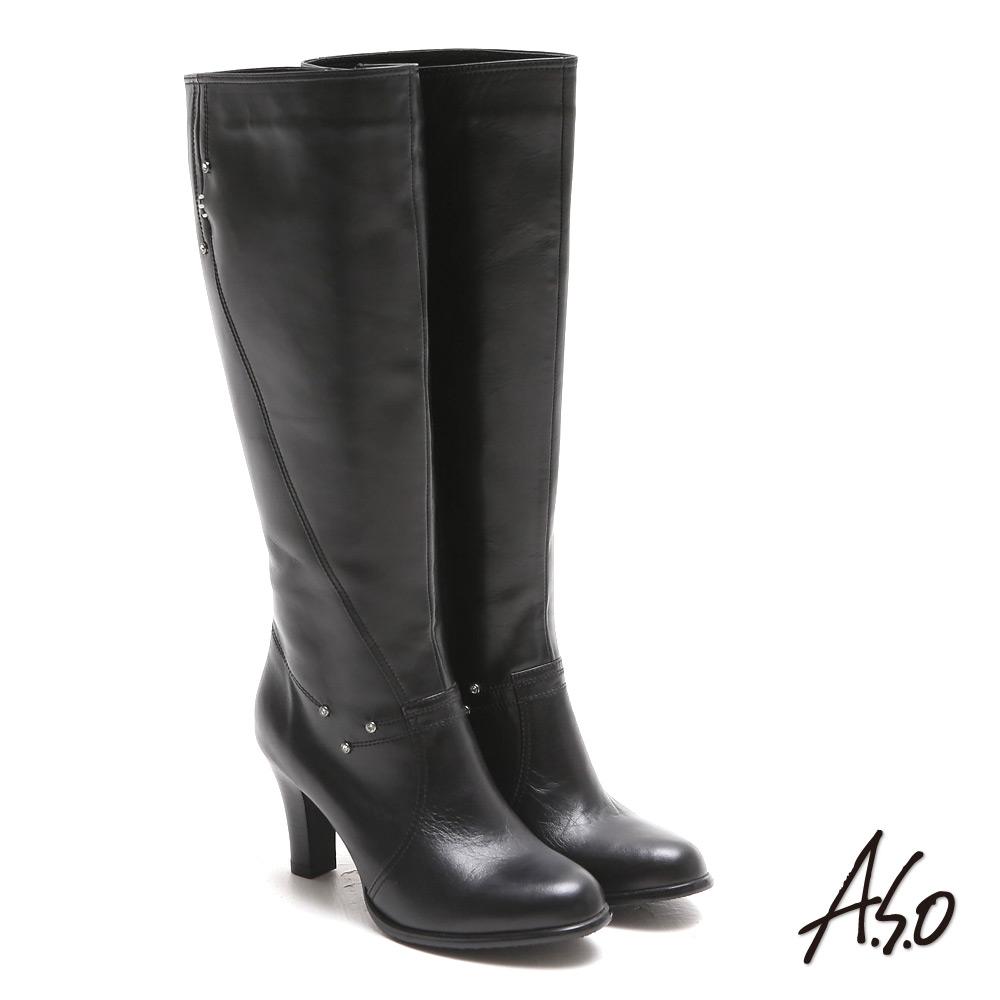 A.S.O 都會時尚 閃鑽微笑曲線靜音奈米長靴(黑色)
