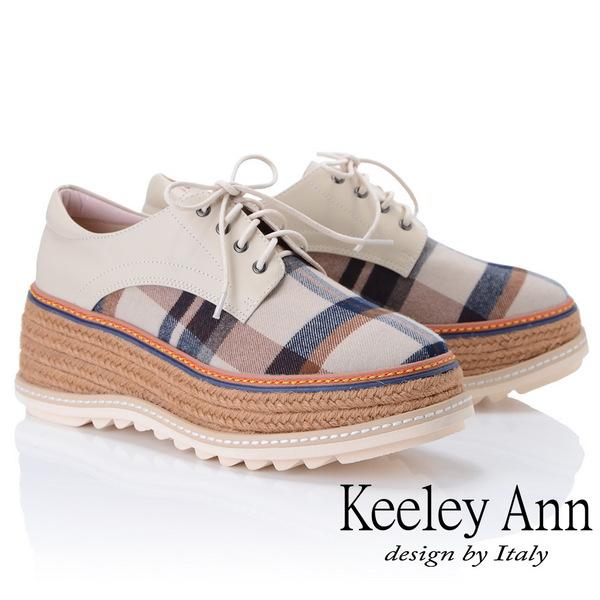 Keeley Ann簡約百搭~英格蘭風格紋厚底綁帶真皮休閒鞋(米色875542130-Ann系列)