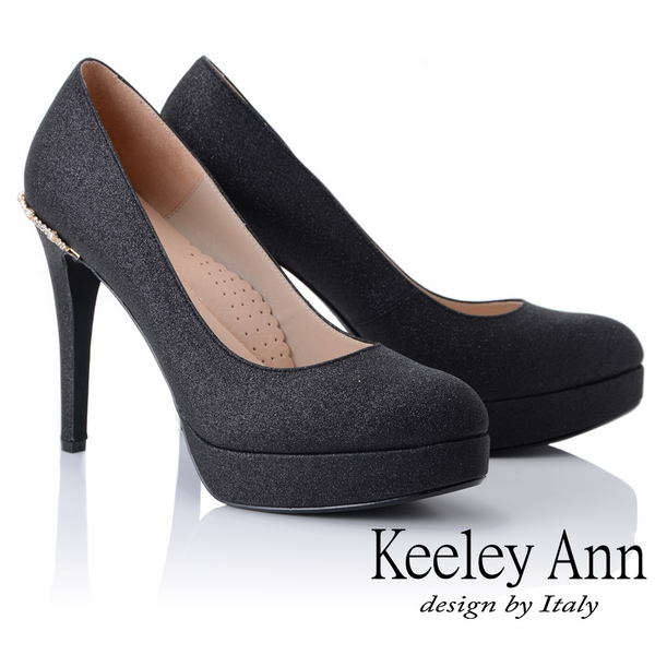 Keeley Ann高雅出眾~雅緻寶石點綴真皮軟墊新娘晚宴高跟鞋(黑色885063210)